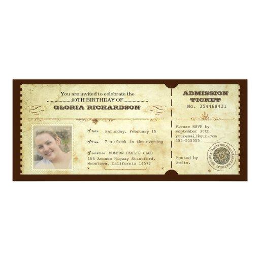billet vintage d'anniversaire avec votre photo invitations