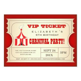 Billet vintage de fête d'anniversaire de carnaval carton d'invitation  12,7 cm x 17,78 cm
