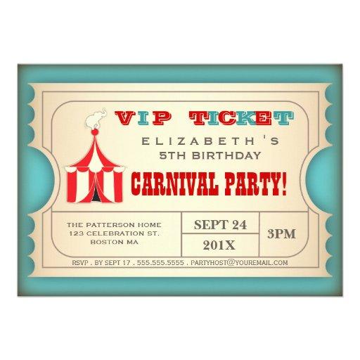 Billet vintage de fête d'anniversaire de carnaval  faire-part personnalisé
