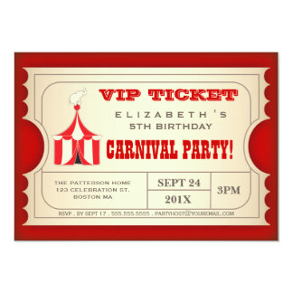 Billet vintage de fête d'anniversaire de carnaval invitations