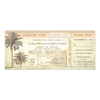 Billet vintage de mariage de carte d'embarquement