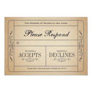 Billet vintage RSVP de mariage Carton D'invitation 8,89 Cm X 12,70 Cm