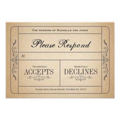 Billet vintage RSVP de mariage Invitations Personnalisées