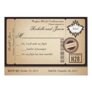 Billet vintage RSVP de passeport Carton D'invitation 8,89 Cm X 12,70 Cm