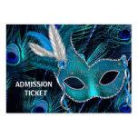 Billets d'admission de partie de mascarade de paon carte de visite