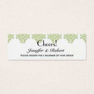 Billets de boissons de mariage de jardin de vigne mini carte de visite