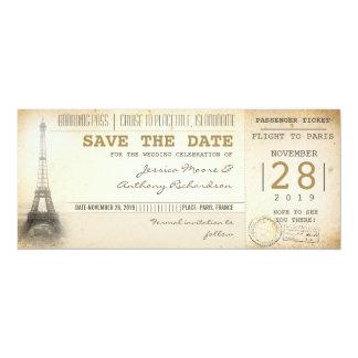 Billets de carte d'embarquement de Paris pour des Carton D'invitation 10,16 Cm X 23,49 Cm
