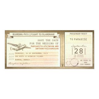 billets de carte d'embarquement - économies de cru carton d'invitation  10,16 cm x 23,49 cm