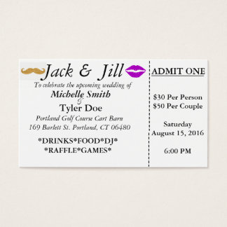 Billets de Jack et de Jill Cartes De Visite