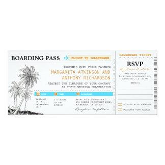 billets de mariage de carte d'embarquement avec carton d'invitation  10,16 cm x 23,49 cm