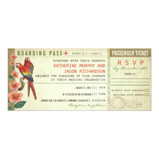 billets de mariage de carte d'embarquement avec le carton d'invitation  10,16 cm x 23,49 cm