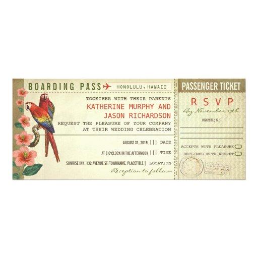 billets de mariage de carte d'embarquement avec le cartons d'invitation personnalisés