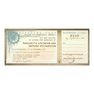 billets de passage-cru d'embarquement de mariage carton d'invitation  10,16 cm x 23,49 cm