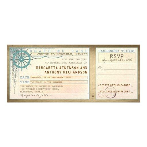billets de passage-cru d'embarquement de mariage bristol personnalisé