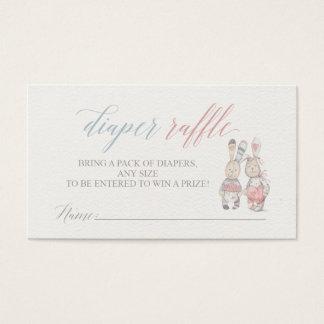 Billets de tombola de couche-culotte de lapin pour cartes de visite