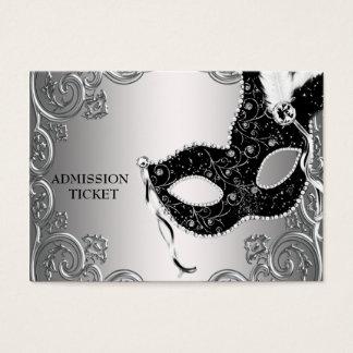 Billets noirs argentés d'admission de partie de cartes de visite