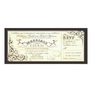 billets vintages de mariage avec des flourishes carton d'invitation  10,16 cm x 23,49 cm