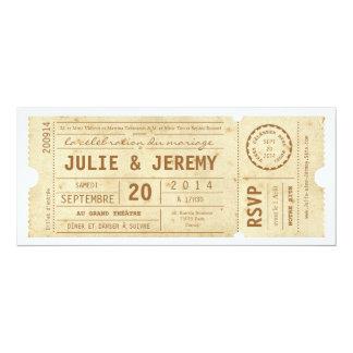 Billettes de Théâtre invitation de mariage de Carton D'invitation 10,16 Cm X 23,49 Cm