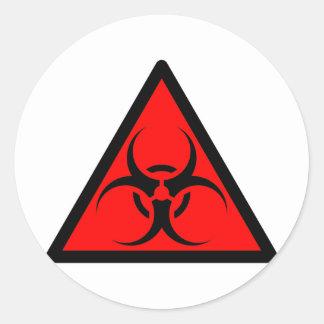 Bio risque ou rouge de avertissement de symbole de sticker rond