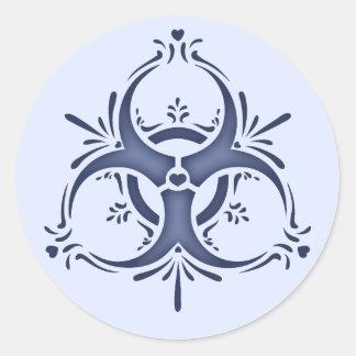 Biohazard bleu de Delft Sticker Rond