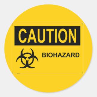 Biohazard de PRÉCAUTION Sticker Rond