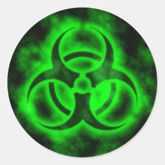 Biohazard vert sticker rond