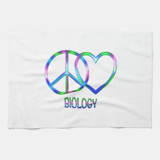 Biologie brillante d'amour de paix linges de cuisine