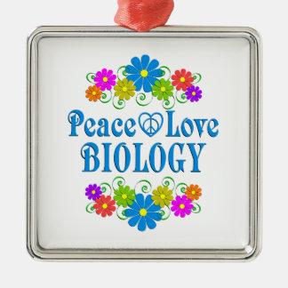 Biologie d'amour de paix ornement carré argenté