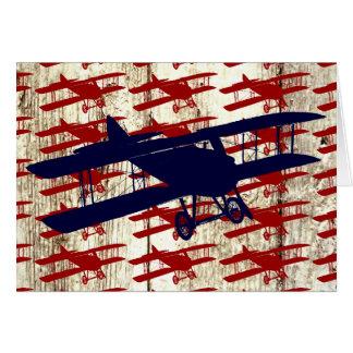 Biplan vintage sur les cadeaux en bois d'aviation cartes de vœux