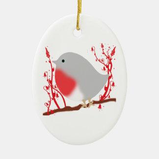 bird ornement ovale en céramique