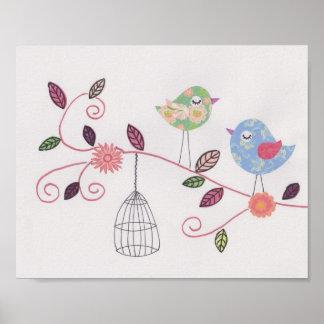 Birdies d'art de collage de crèche petites poster