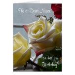 Birthday/To cher Nièce-Jaune Roses Cartes De Vœux