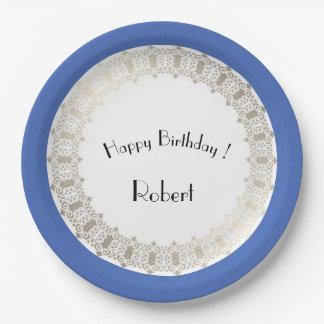 Birthdays_Monogram-Blueberry-Silver-Shield_Unisex Assiettes En Papier