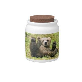 Biscuit brun mignon de petit animal d'ours gris, p jarre à bonbons