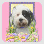 Biscuits d'oeuf de pâques - Terrier tibétain Stickers Carrés