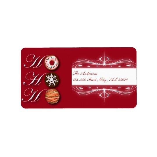 Biscuits HoHoHo de Noël de beignet de boulanger de Étiquette D'adresse