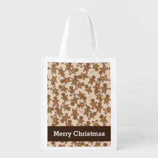 Biscuits mignons de vacances de Noël de bonhommes Sac D'épicerie
