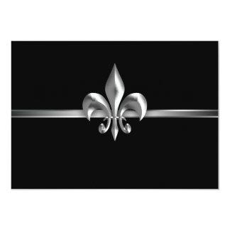 Black Fleur de Lis Event argenté I Carton D'invitation 12,7 Cm X 17,78 Cm