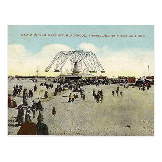 Blackpool, machine de vol de maxime carte postale