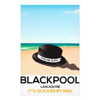 """Blackpool """"m'embrassent vite"""" affiche de train de papier à lettre customisé"""