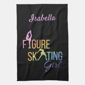 Blade Towel Figure skating rainbow on black