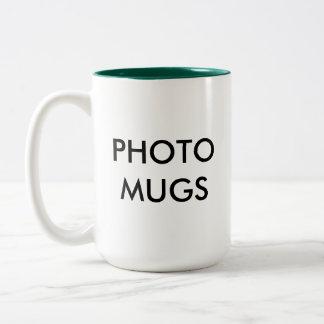 Blanc à deux tons de tasse de photo personnalisé