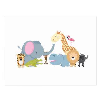 blanc animal de groupe de safari carte postale
