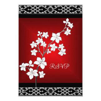 Blanc argenté floral noir rouge asiatique carton d'invitation 8,89 cm x 12,70 cm
