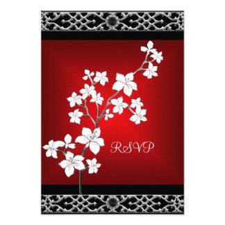 Blanc argenté floral noir rouge asiatique d'annive faire-parts