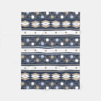 Blanc beige bleu géométrique moderne couverture polaire