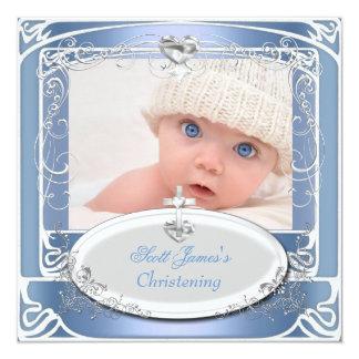 Blanc bleu de baptême de baptême de bébé carton d'invitation  13,33 cm