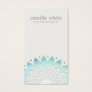 Blanc cassé bleu-clair de cercle élégant de cartes de visite