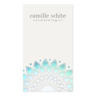 Blanc cassé bleu-clair de cercle élégant de cosmét carte de visite standard
