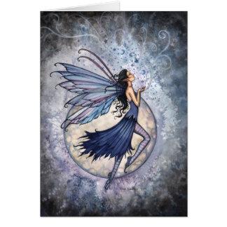 Blanc céleste de ~ de carte féerique bleue
